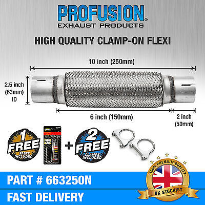 "Clamp On 2.5"" x 10"" inch Exhaust Flexible Joint Repair Flexi Pipe tube Flex"