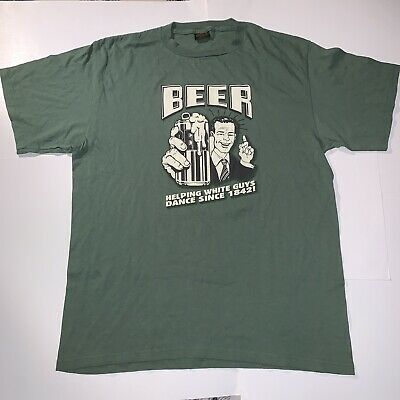 Vintage Beer Helping White Guys Dance XL Tshirt Changes USA Beer Helping White Guys Dance