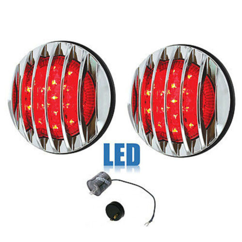 "3-3/4"" 17 LED Tail Lamp Lens w/ Chrome Bezel Flush Mount Assembly & Flasher Pair"