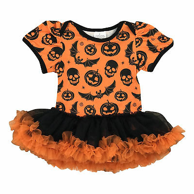 Baby Girls Pumpkin Halloween Romper Tutu  Boutique Newborn Infant Costume 3m - Halloween Newborn Costumes