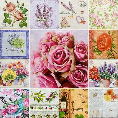 5 Single Paper Table Napkins for Decoupage * ROSES * VINTAGE * VINE * LAVENDER