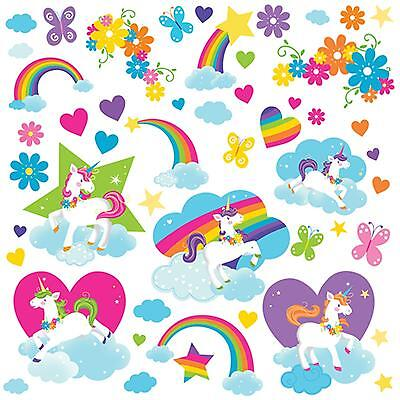 Fairytale Rainbow Unicorn 50 Wall Decals Fairy Tale Clouds Room Decor Stickers