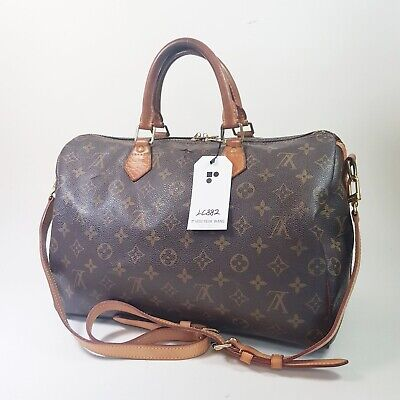 Auth Louis Vuitton Speedy Bandouliere 35 M40392 Initial Engraved No Keys LC882