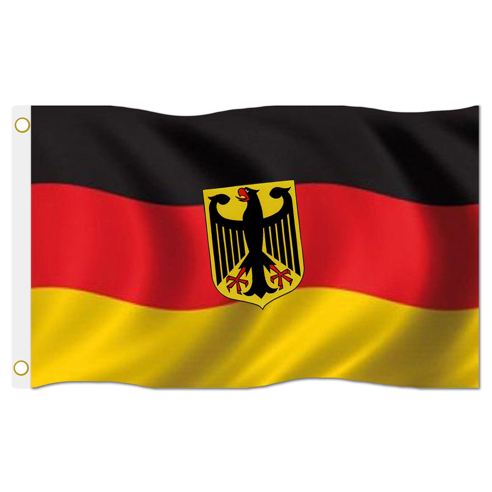 Deutschlandfahne 150 x 90 cm Hissflagge Deutschland Fahne Flagge mit Ösen Wappen