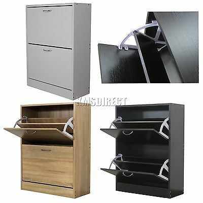 FoxHunter Wooden Shoe Storage Cabinet 2 Drawer Footwear Stand Rack Unit Cupboard
