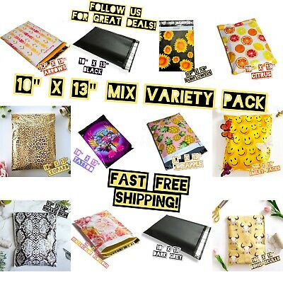 120 Mix Designer 10x13 Poly Mailers Variety Pack 10 Ea Shipping Envelopes