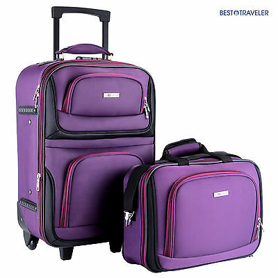 2PC Lightweight Carry On Luggage Set Tote Bag Expandable Suitcase Purple (Rolling Luggage Set)