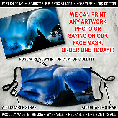 Custom Personized Face Mask with Nose Wire we can add your own artwork or photo