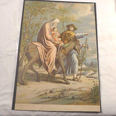Jesusgeschichte ( nach Ägypten ) großer Farbdruck um 1900 (nach Carolsfeld)