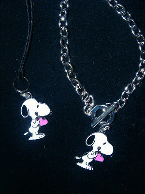 Snoopy I give My Heart cell phone charm or Bracelet or Key chain Charm New ()