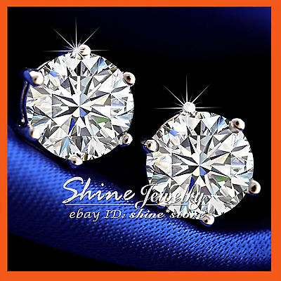 (18K WHITE GOLD FILLED MENS WOMENS 3CT BIG STUD EARRINGS SOLID SIMULATED DIAMOND)