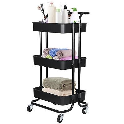 3-Tier Rolling Utility Cart w/ Handle Storage Cart Organizer w/ Lockable Wheels