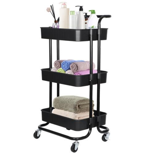 3-Tier Rolling Cart Metal Utility Storage Organization with Wheels for Kitchen Home & Garden