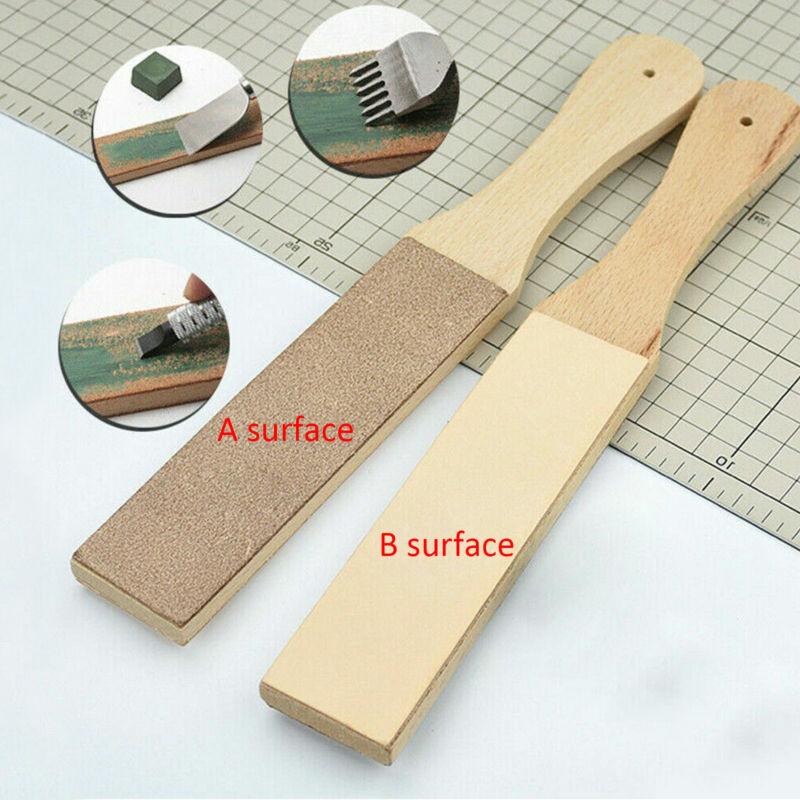Wooden Dual Sided Leather Blade Strop Tool Supply Razor Sharpener Polishing USA