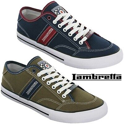 Lambretta Canvas Shoes Mens MOD Lace Pumps Cushioned Plimsole Trainers UK 7-12