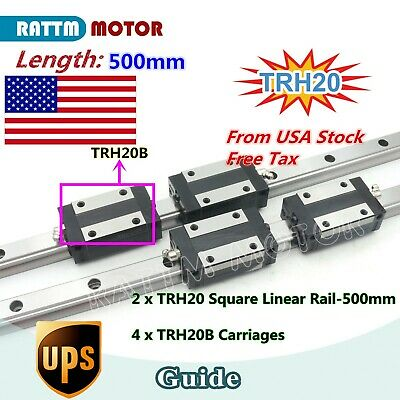 Usa Stock20mm Square Linear Rail Guide 500mm 4pcs Carriage For Cnc Router
