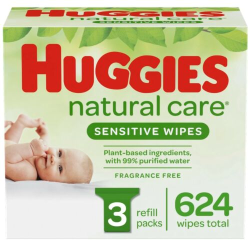 Huggies Natural Care Unscented Baby Wipes Sensitive 3 Refill Packs - 624 Wipes