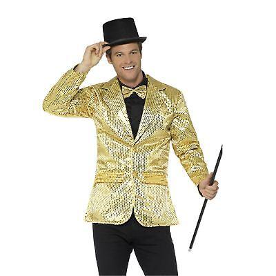 Adult Mens Gold Sequin Jacket Coat Ringmaster Jazz Showman Fancy Dress Costume - Mens Ringmaster Jacket