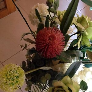 SILK FLOWERS  IN GLASS RUSTIC VASE  X 2  SUIT WEDDING OR SIMILAR Port Noarlunga Morphett Vale Area Preview