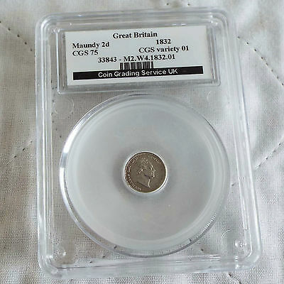 WILLIAM IV 1832 SILVER MAUNDY TWO PENCE SLABBED CGS 75