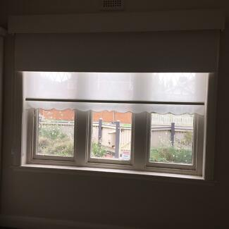 Big double roller blind 2.55m wide block out and privacy sheer ...