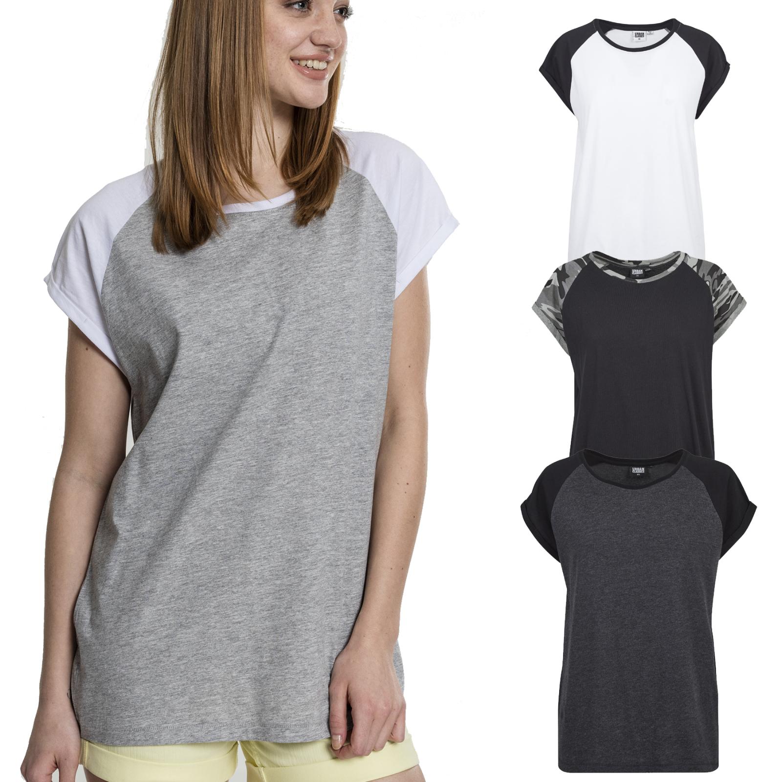 Urban Classics Ladies Contrast Raglan T-Shirt Damen Baseball Locker Luftig