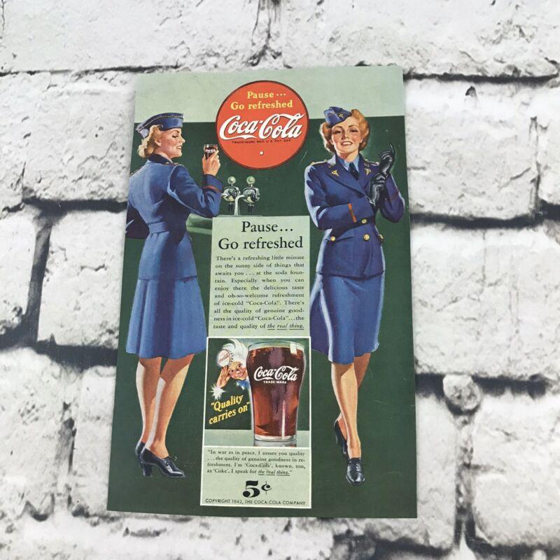Vintage 1942 Coca Cola Army Nurse Advertising Art Print Ad