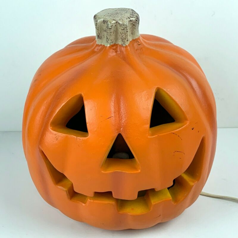 Vintage 1998 Halloween Lighted Pumpkin Jack O Lantern Foam Blow Mold