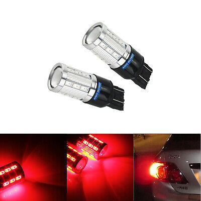 2x T20 W21W W21/5W 580 21 SMD 6W LED Bulbs Side Tail Stop Brake Light Lamps Red