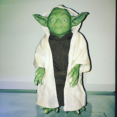 "Star Wars CALL UPON YODA 12"" Tall Figure With Cloth Cloak."