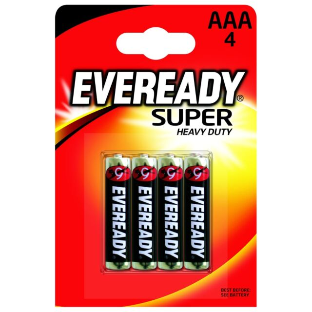 4 Pack Eveready Super Heavy Duty Zinc AAA Batteries R03 Free 1st Class Postage