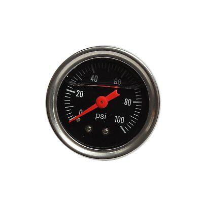 FUEL PRESSURE REGULATOR GAUGE 0-100 PSI LIQUID FILL CHROME FUEL/OIL GAUGE BK