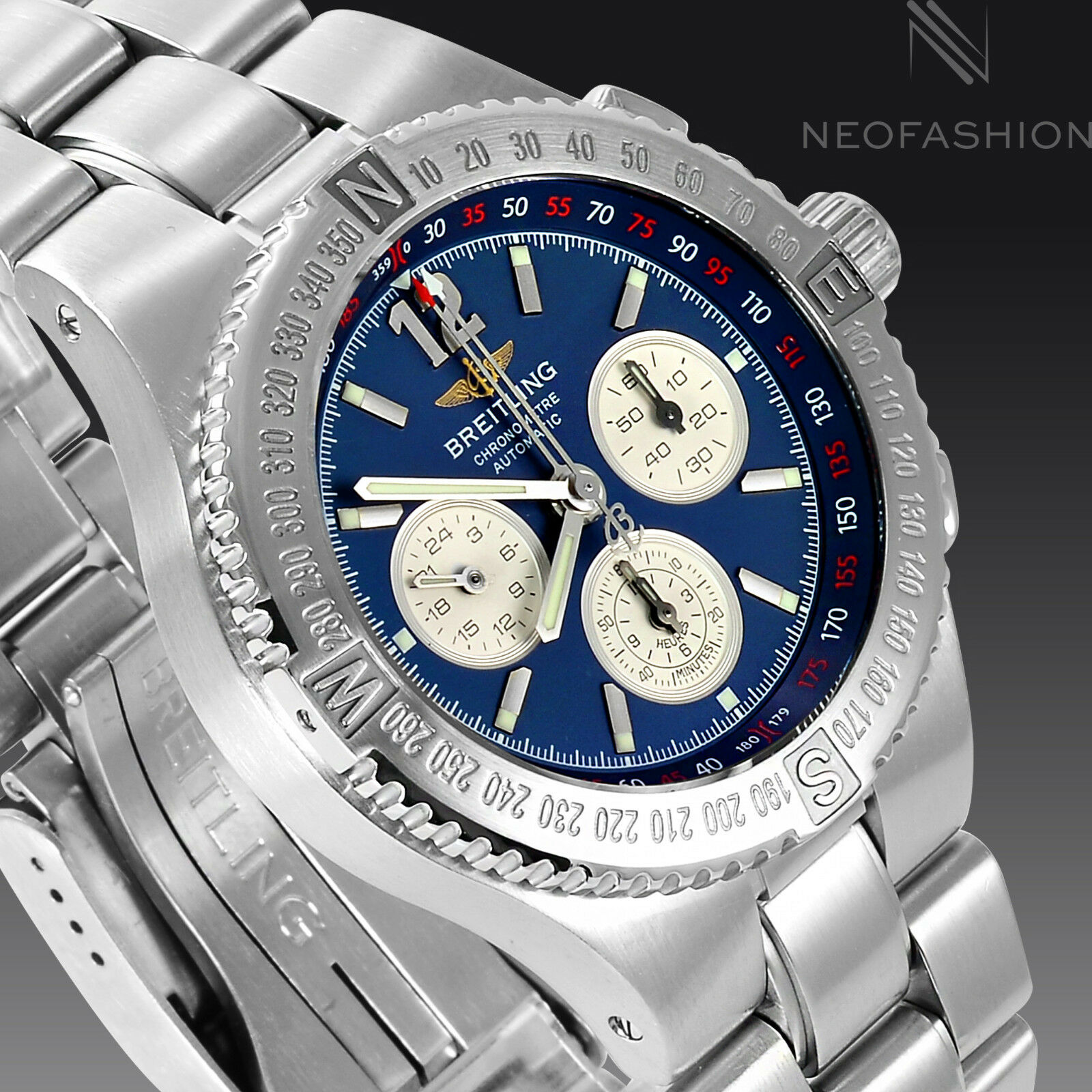 BREITLING HERCULES SS CHRONOGRAPH 45MM BEAUTIFUL BLUE DIAL MENS WATCH A39362