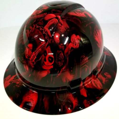 FULL BRIM Hard Hat custom hydro dipped, NEW CANDY  RADIOACTIVE RED BANDITO GIRLS 4
