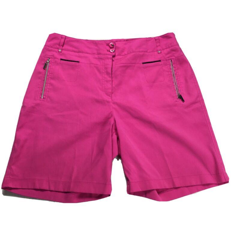 Jamie Sadock Size 12 Ladies Shorts Bermuda Length Pants Golf Pink Tee Pockets