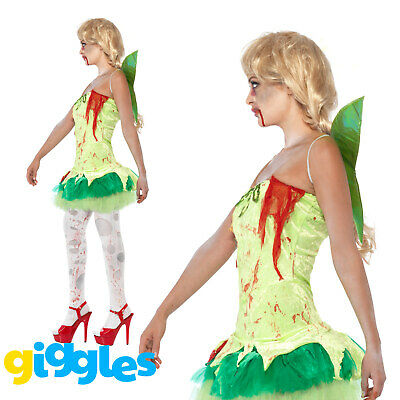 Zombie Tinkerbell Fairy Costume Womens Ladies Scary Halloween Fancy Dress Outfit ()