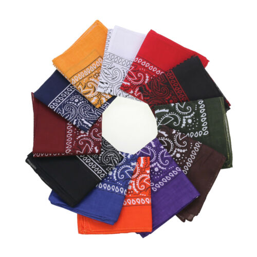 12pcs Bandana, Assorted Bandanas 22X22 Inch 100% Cotton, outdoor protection