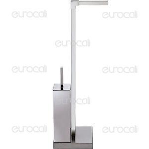 Piantana porta rotolo e scopino in metallo accessori arredo bagno design pt56r ebay - Porta scopino bagno ...