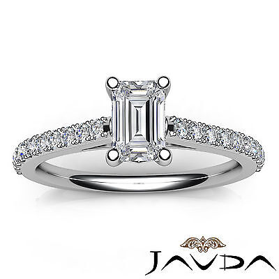 Double Prong Emerald Natural Diamond Engagement White Gold Ring GIA F VS2 0.80Ct 3