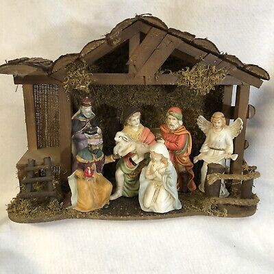 Vintage Brinn's Pgh. PA. Hand Painted Nativity Set of 6 Porcelain with Manger