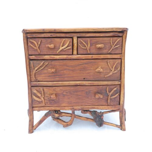 Rustic Bachelors Chest Adirondack Style Root Wood Hand Carved Mountain House