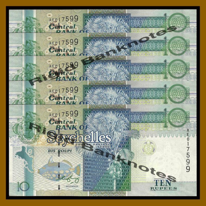 Seychelles 10 Rupees x 5 Pcs, ND 1998-2010 P-36 Unc