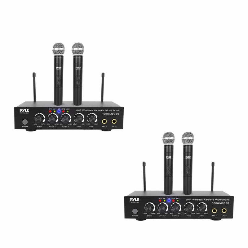 Pyle PDKWM806B Bluetooth Dual Wireless Microphone System with 4 Mics (2 Pack)
