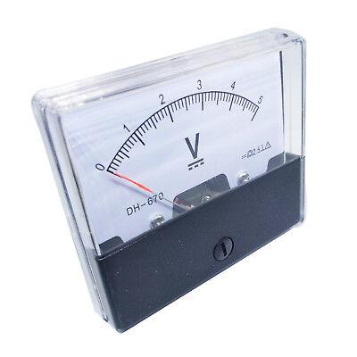 Us Stock Analog Panel Volt Voltage Meter Voltmeter Gauge Dh-670 0-5v Dc