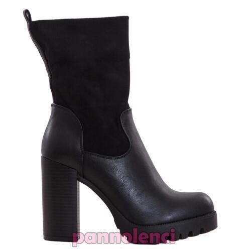 Détails sur Chaussures Bottes Femme Bottines à Gros Talon Du Mollet en Daim Neuf D1515