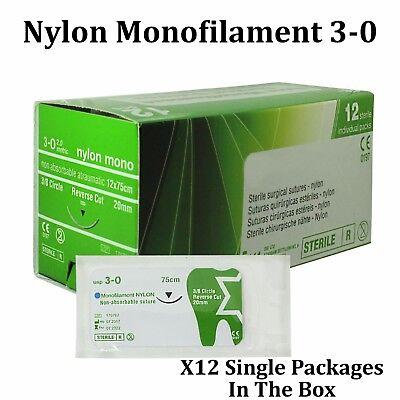 Nylon 30 Surgical Suture First Aid Use Trauma Wound Treat 12 Pcs