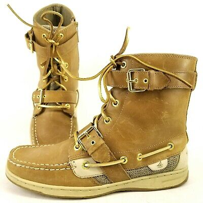 Gold Trim Boots (Sperry Womens Huntley Boat Boots Brown Gold Trim Size 8.5 Lace Up.)
