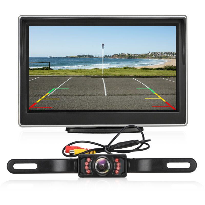 "Wireless Car Rear View System Backup Reverse Camera Night Vision IR 5"" Monitor"