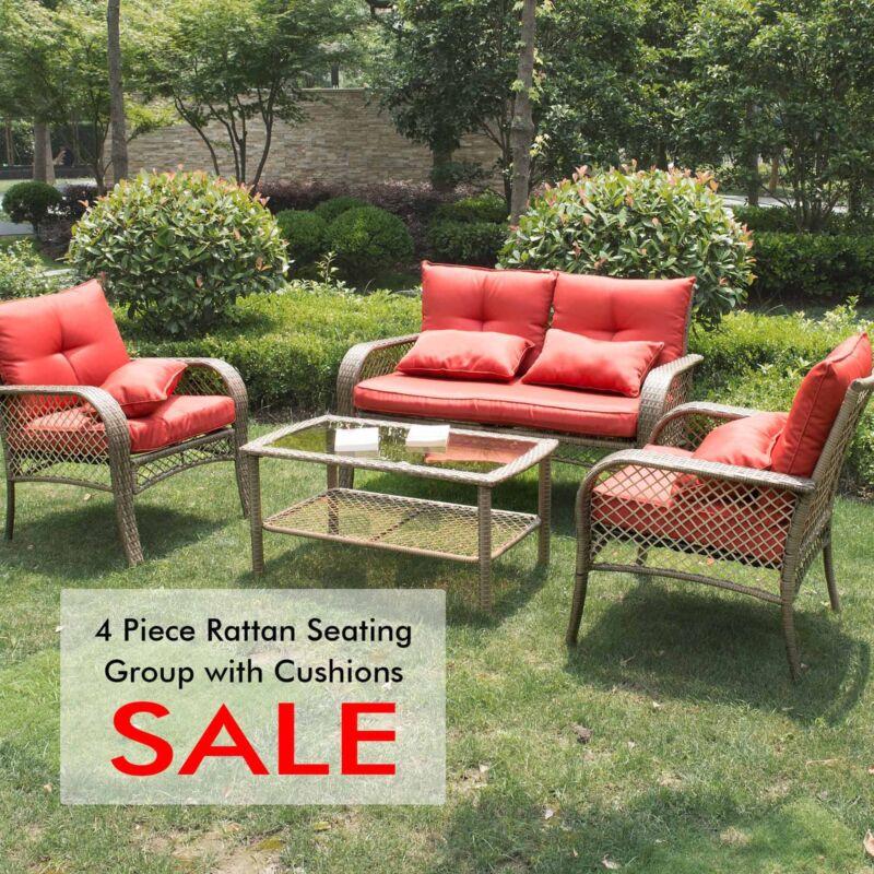 Garden Furniture - Rattan Sofa Furniture Set Patio Garden Lawn Cushioned Seat Brown 4PC