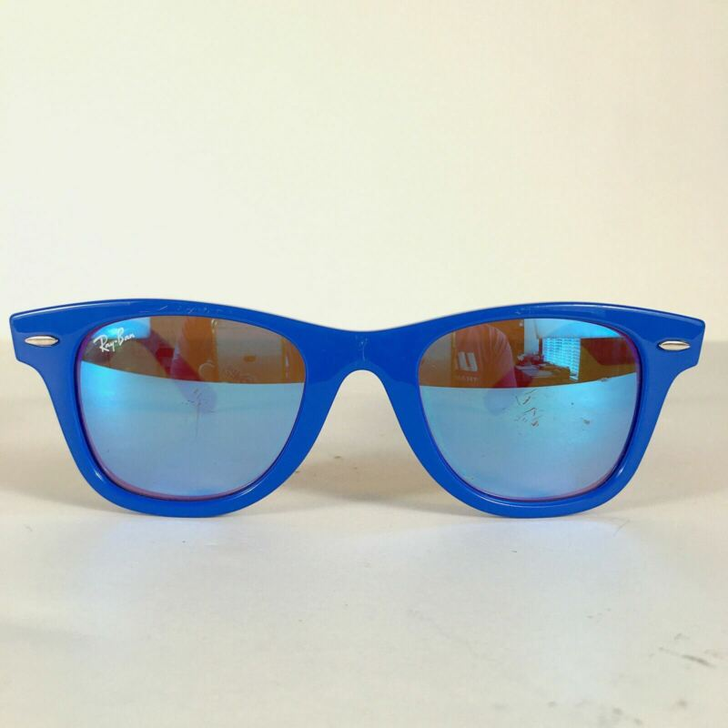 Preowned Ray Ban RJ9066S Blue Red Square Mirrored Kids Sunglasses 47mm BG03